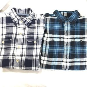 Men's XS plaid flannel shirts bundle lot